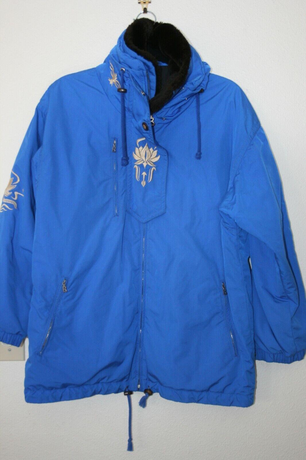 Bogner Vtg Ski Snowboarding Jacket Sz 8 Insulated Blue Embroidered in EUC