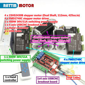 Image Is Loading Usb Cnc Controller Kit 4 Axis Nema23 Stepper