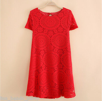 Women Short Sleeve Loose Lace Hollow Out Casual Tops Skirt Dress Big Size S~4XL