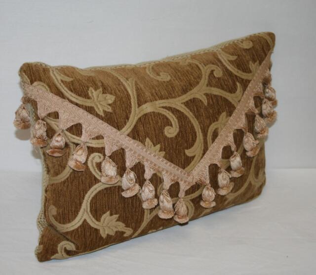 "14x20"" Dark Gold Chenille Decorative Throw Pillow  Leaf Vine Bell Fringe Tassels"