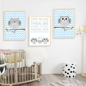 Woodland-Animal-Owl-Nursery-Canvas-Poster-Cartoon-Wall-Art-Print-Kids-Room-Decor