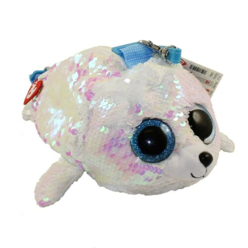 "2018 TY 8/"" ICY White Seal Fashion Flippy Color Changing Sequin Glam Purse Strap"