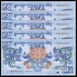 Bhutan 1 Ngultrum 5pcs Running Number (UNC) 全新 龙钞 不丹 1努尔特鲁姆 纸币 2013年 五连号