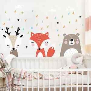 Wandtattoo-Kinder-Zimmer-Suesse-Wald-Tiere-Wand-Tattoo-Kind-Baby-Sticker-Aufkleber
