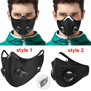 Washable Face Mask Activated Carbon Filter Cycling Mouth Mask Air Purifying Ebay