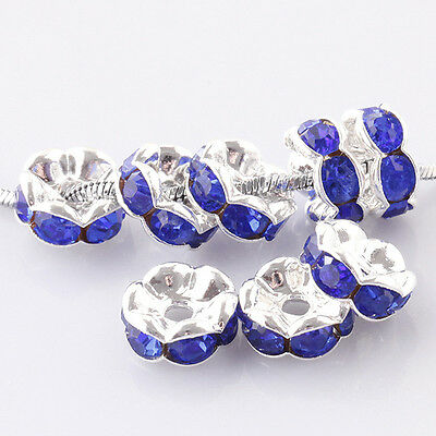 20pcs silver plated blue crystal glass loose bead in 10mm wide