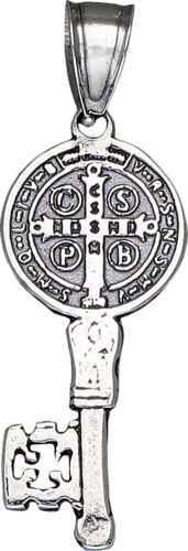 Sterling Silver Saint Benedict Key Medal Reversible Charm Pendant Necklace