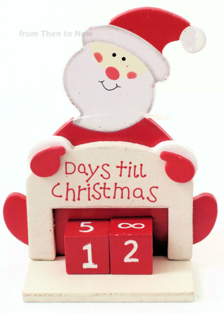 Days Til Until Christmas Xmas Wooden Santa Countdown Advent Calendar Chic Shabby