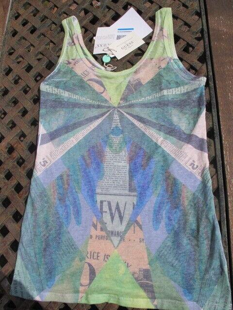 New art deco style digital print GUESS vest T shirt top med ocean pastels bnwt