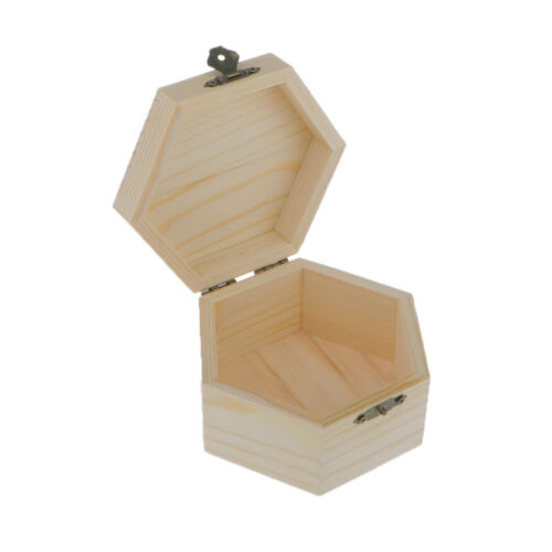 Unpainted Plain Hexagonal Wooden Jewelry Box Trinket Chest Gift Trinket Box