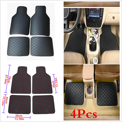 Custom Car Floor Mats for Most Car PU Leather mat Full Surrounded All Weather Protection Waterpoof Non-Slip Front Rear Mats Set Black and Red