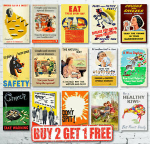 Vintage-Retro-Health-amp-Wellbeing-Public-Safety-Poster-Prints-A4-A3-A2-A1