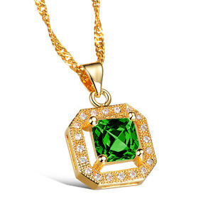 18K-Gold-Plated-Necklace-Pendant-Green-AAA-Cubic-Zirconia-Women-039-Singapore-G158