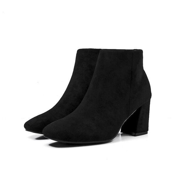 Stiefeletten stiefel absatz quadrat schwarz staubtücher 7 cm komfortabel simil