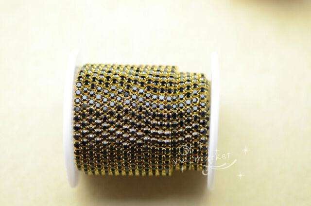 1 Meter ss12 colour rhinestone close trim chain silver/golden