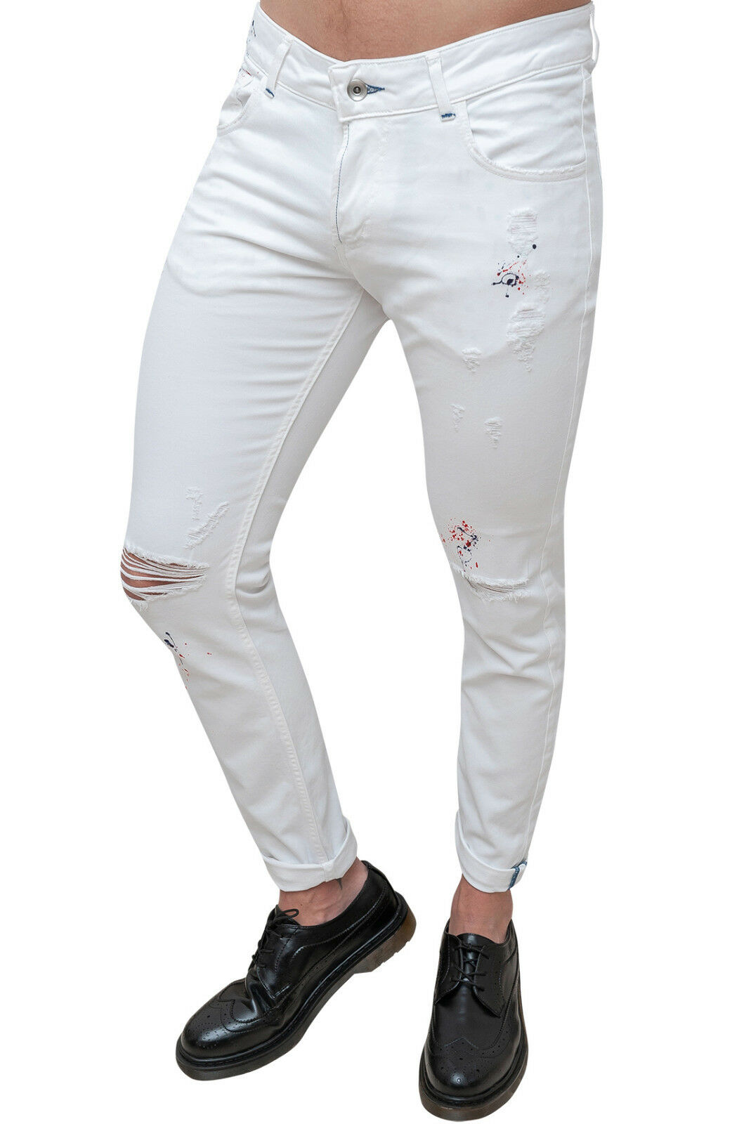 PANTALONI men BATTISTINI SARTORIALE BIANCO CASUAL COTONE 5 TASCHE MADE IN ITALY