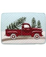 Kohl's St Nicholas Square Red Truck With Christmas Tree 4 Quilted Blue Placemats