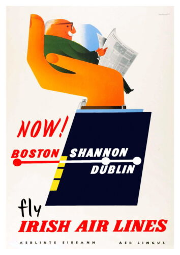 Wall art Reproduction. poster Fly Irish Airlines : Vintage Travel advertising