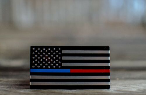 "ALUMINUM Thin Blue//Red Line Sticker Decal Emblem Law Enforcement 3.2/"" x 1.75/"""