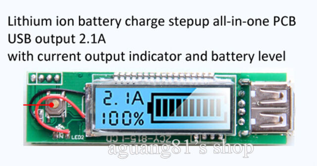 5V 2.1A USB all-in-one LCD Display 18650 Lithium ion battery charger module DIY