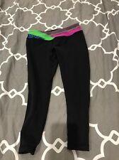 IVIVVA Athletica Lululemon Black Pink Green Reversible Rhythmic Crops Size 12