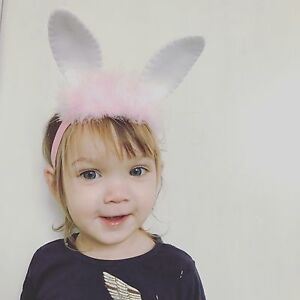 Baby Girl Headbands Bunny Ears With Fur Easter Headband Newborn Baby ... 85473e63b27