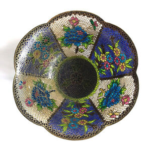 Vintage-Chinese-Plique-a-Jour-Enamel-amp-Gilt-Metal-Flower-amp-Butterfly-Bowl-20th-C