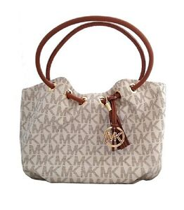Image Is Loading Michael Kors Ring Tote Vanilla White Pvc Gold