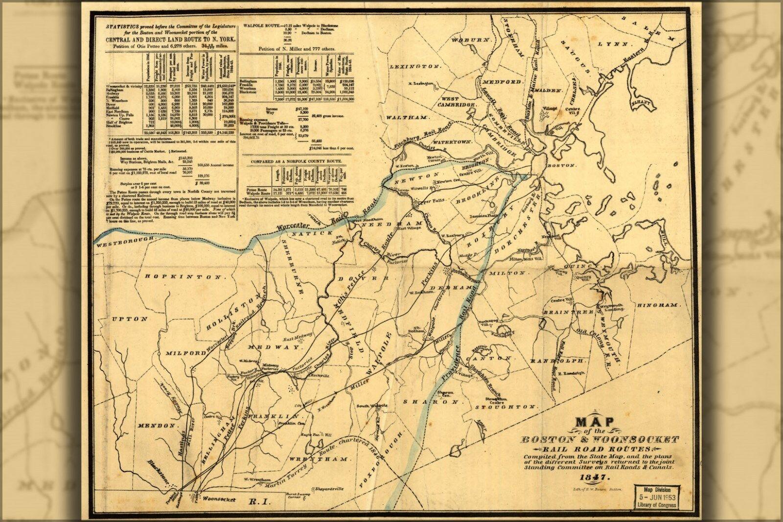 Plakat, Viele Größen; Landkarte der Boston & Woonsocket Eisenbahn 1847