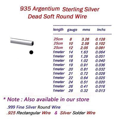 Argentium Sterling Silver Half Round,Round,Square Wire Dead Soft  6Ga ~ 28 Ga