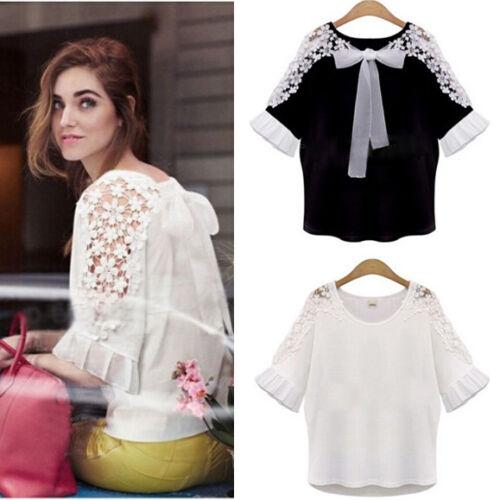 Fashion Ladies Womens Chiffon Lace Crochet Sleeveless Shirt Casual Blouse Tops
