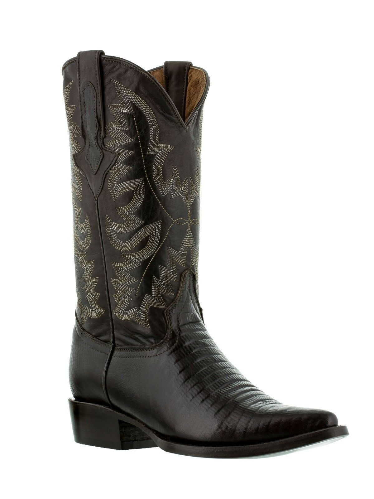 Mens Brown Lizard Design Western Cowboy Leather Boots Alligator Rodeo Armadillo