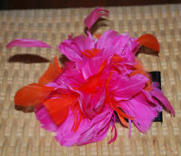Feather Hair Accessory Pouf Gator Clip Pin Brooch Headpiece Hot Pink Orange