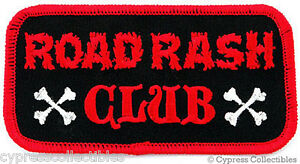 ROAD RASH CLUB - EMBROIDERED IRON-ON BIKER PATCH new MOTORCYCLE CRASH NAMETAG