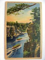 Linen Postcard High Rock Romance Cliff Wisconsin Dells Curt Teich New c.1936