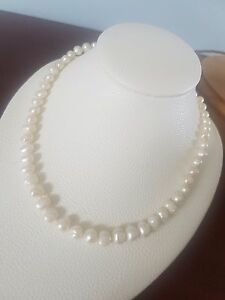 Beautiful Ivory White Baroque Freshwater Pearl Necklace Sterling
