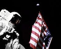 11x14 Nasa Photo: Harrison Schmitt By U.s. Flag On Moon With Earth Above