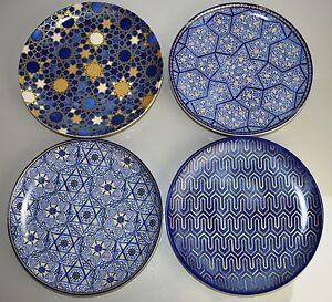 New in box Williams Sonoma Blue Mosaic Hanukkah SALAD PLATES Set of 4