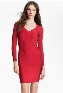 3d09a5efbc7 TED BAKER Red Knit ASPIN Long Sleeve Celebrity Bodycon Dress ~ Sz 1 ...