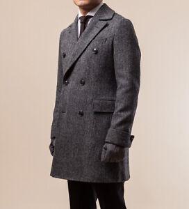 Men-039-s-Black-Herringbone-Long-Blazer-Wool-Coat-Double-breasted-Overcoat-Vintage