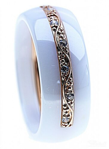 ITRR Damen Ring 925 Sterling Silber rosé Ceramic weiß CS-422S