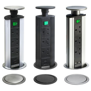 POP UP Power Tower 3 Socket 2 USB with Safety Switch Silver/Stainless Steel TOP