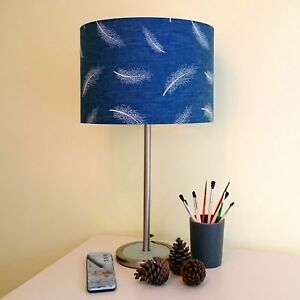 Details About Navy Blue Lampshade White Feathers Denim Drum Ceiling Bedside Table Lamp Shade