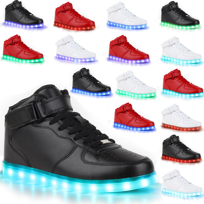 Blinkende Herren Turnschuhe High Led Light Farbwechsel Schuhe 78314 LED Trendy      Preisreduktion