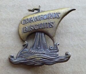 Vintage Crawford's Biscuits badge by Gaunt, Viking longboat, height is 29mm.