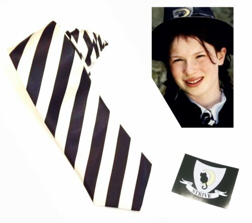 STRIVE BADGE BLACK WHITE STRIPED TIE WORLD BOOK DAY WORST WITCH MILDRED HUBBLE