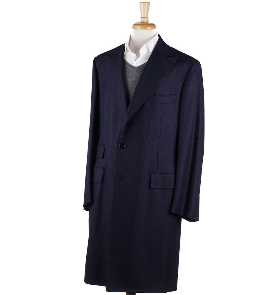 NWT 3995 D'AVENZA Navy Wool-Cashmere Coat with Peak Lapels 42 R Overcoat