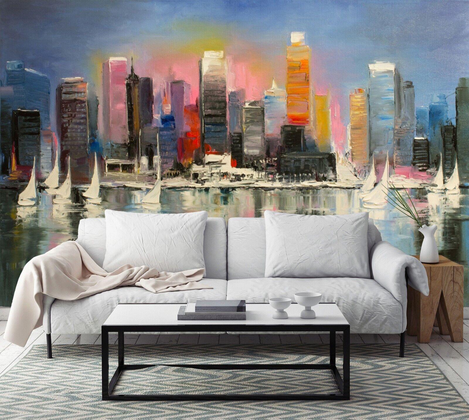 3D Ölgemälde Stadt 7933 Tapete Wandgemälde Tapeten Bild Familie DE Lemon