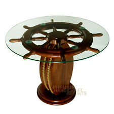 "28"" Ship Wheel Coffee Table with Glass Top NF0003W"