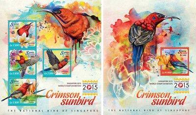 Einfach Vögel Vögel Tieren Fauna Singapur 2015 Briefmarken Sierra Leone Mnh Stempelset Hindernis Entfernen
